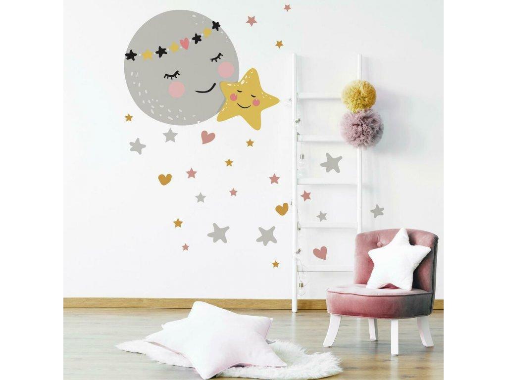 Samolepky na zeď NOČNÍ OBLOHA s měsícem a hvězdou