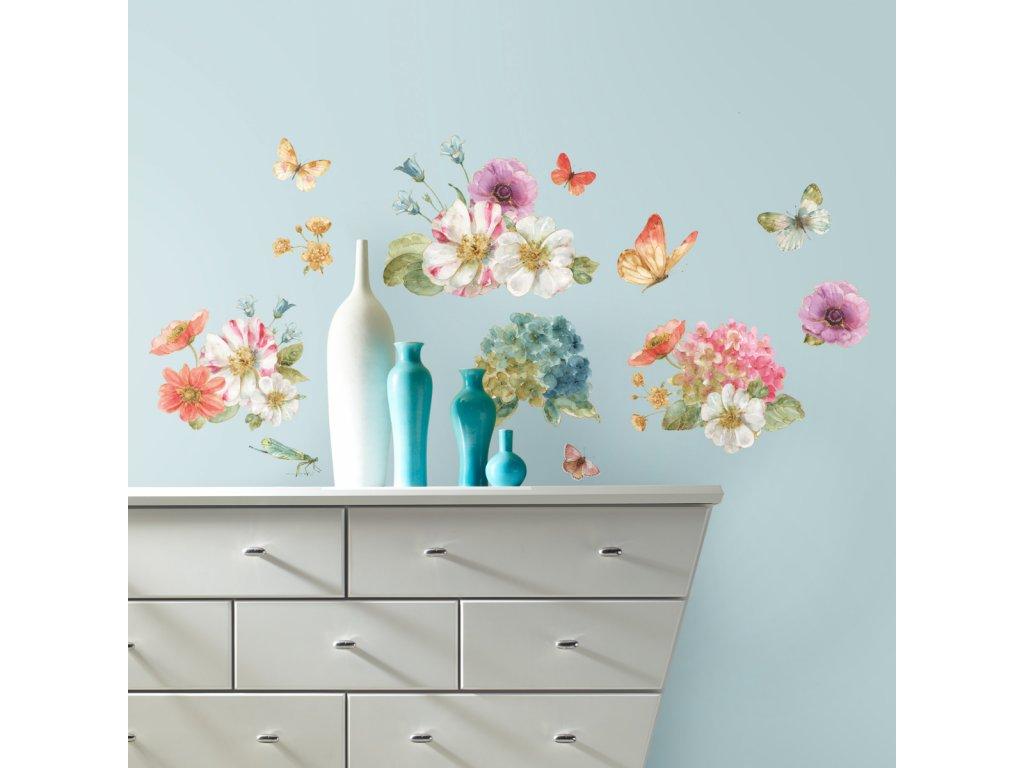 Samolepky na zeď LUČNÍ KVÍTÍ s motýly