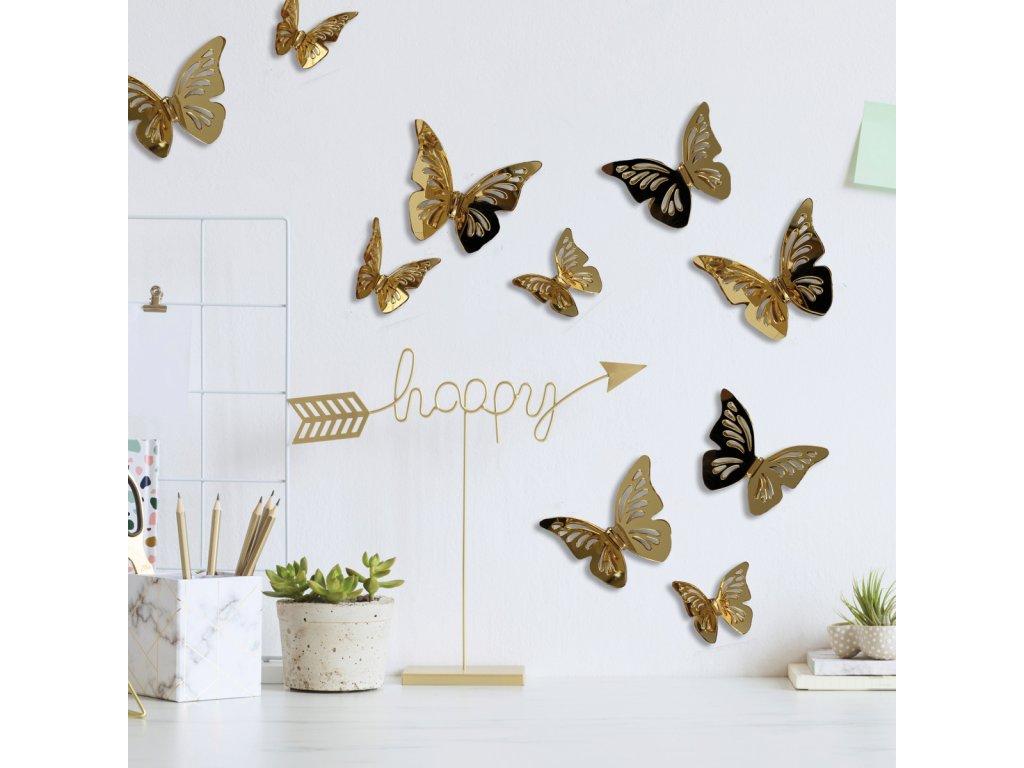 3D nálepky na stěnu MOTÝLI zlatí
