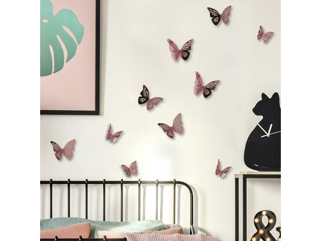 3D samolepky na stěnu MOTÝLI růžoví