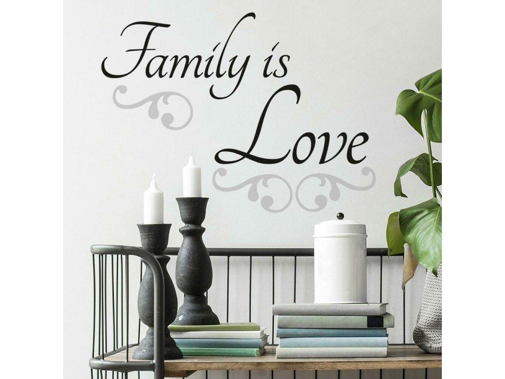 Samolepící nápis na zeď FAMILY IS LOVE