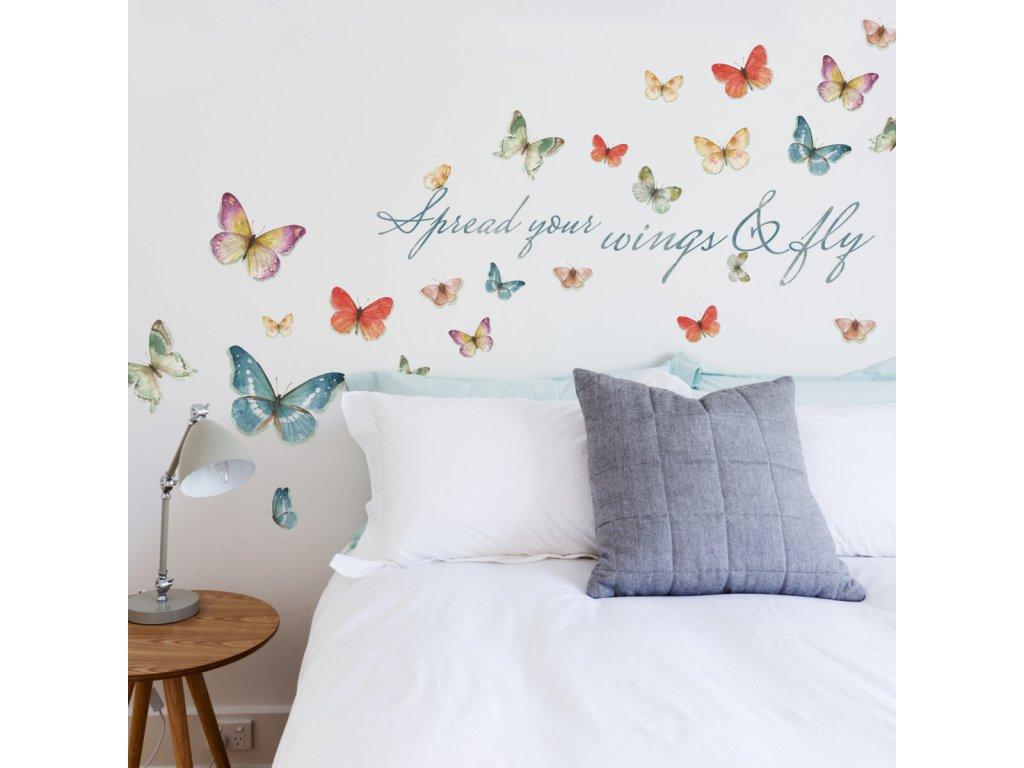 Samolepky na stěnu motýli s nápisem WINGS