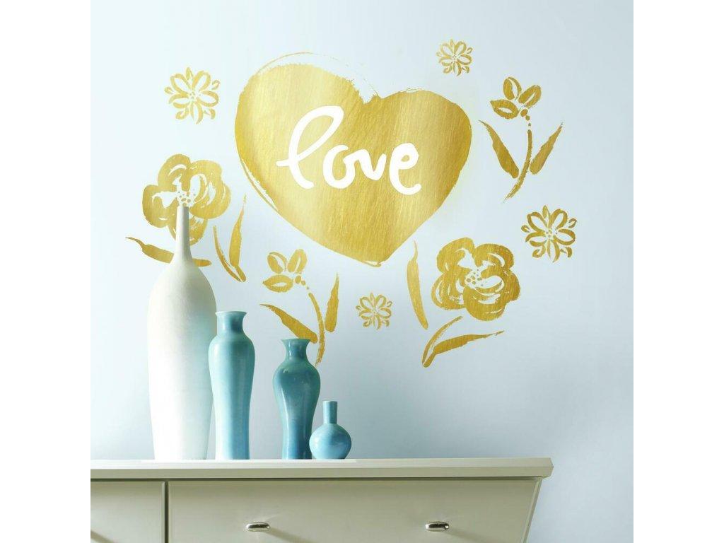 Samolepky na stěnu HEART zlaté