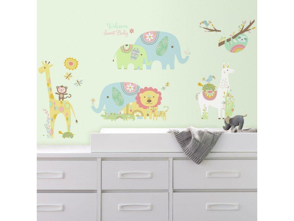 Nálepky do dětského pokoje ZVÍŘATA barevná