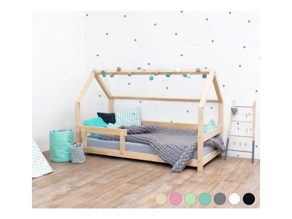 Dětská postel domeček Tery s bočnicí 90x200 cm