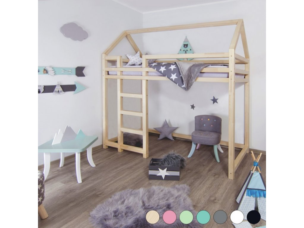 Vyvýšená postel Nesty 90x200 cm