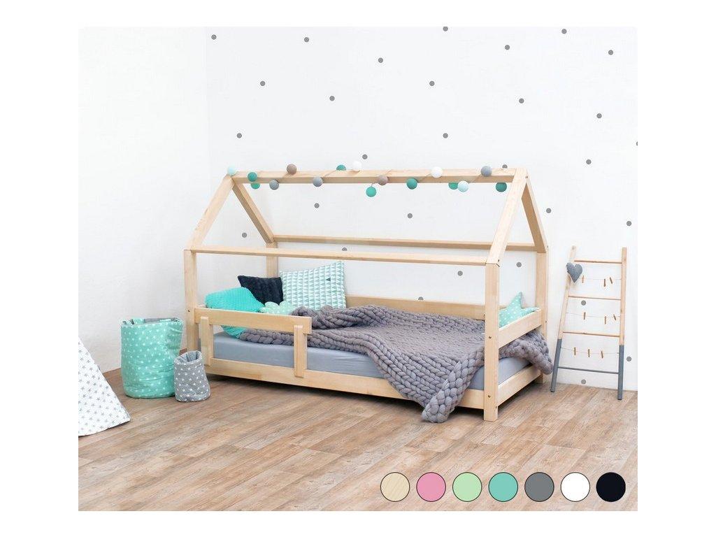 Dětská postel domeček Tery s bočnicí 140x200 cm přírodní