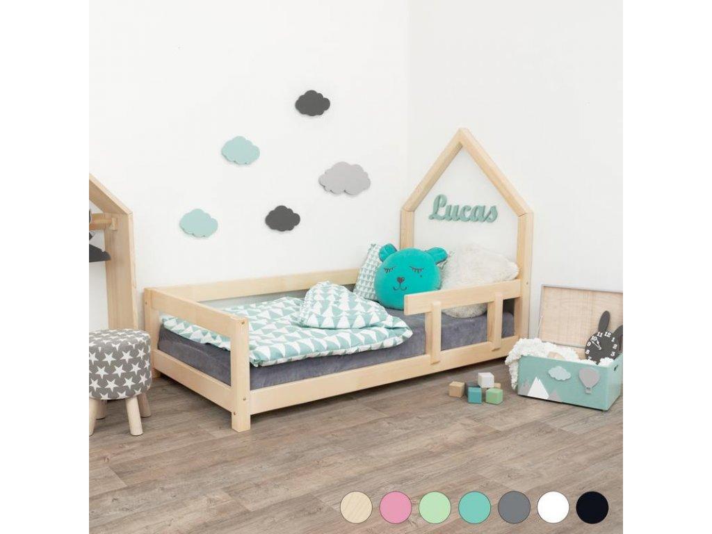 Dětská postel domeček Poppi 90x160 cm s bočnicí - všechny barvy