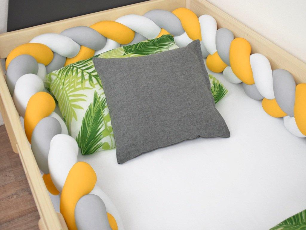 Mantinel pletený do copu Jersey bílo-šedý-hořčicový