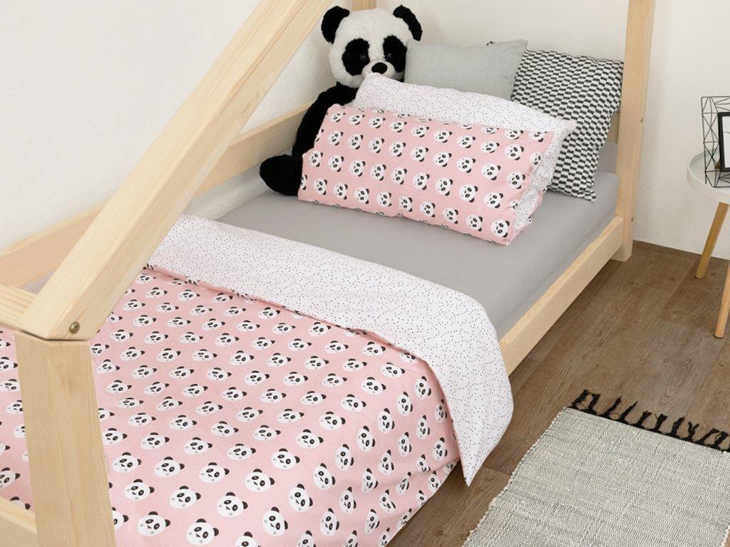 Bavlněné dětské povlečení se vzory 9 - Pandy - růžová