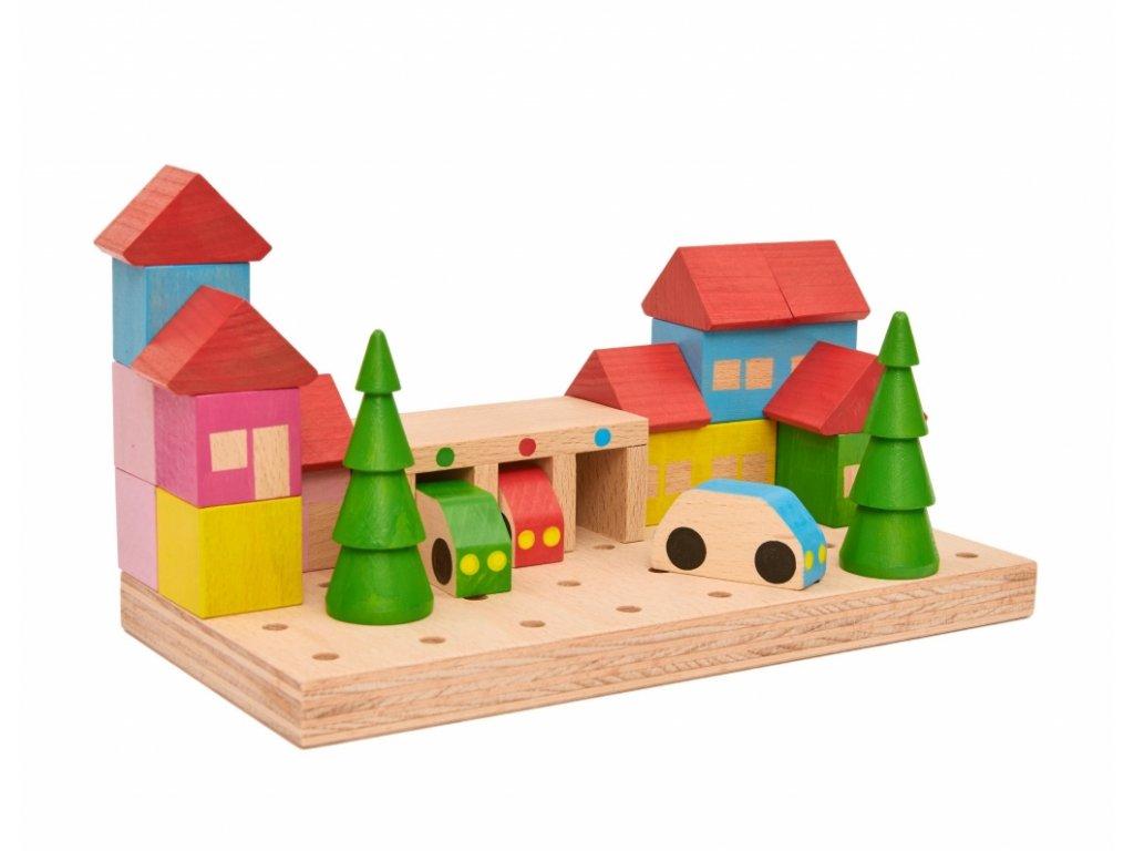 Dřevěná stavebnice MĚSTEČKO ze 23 dílů