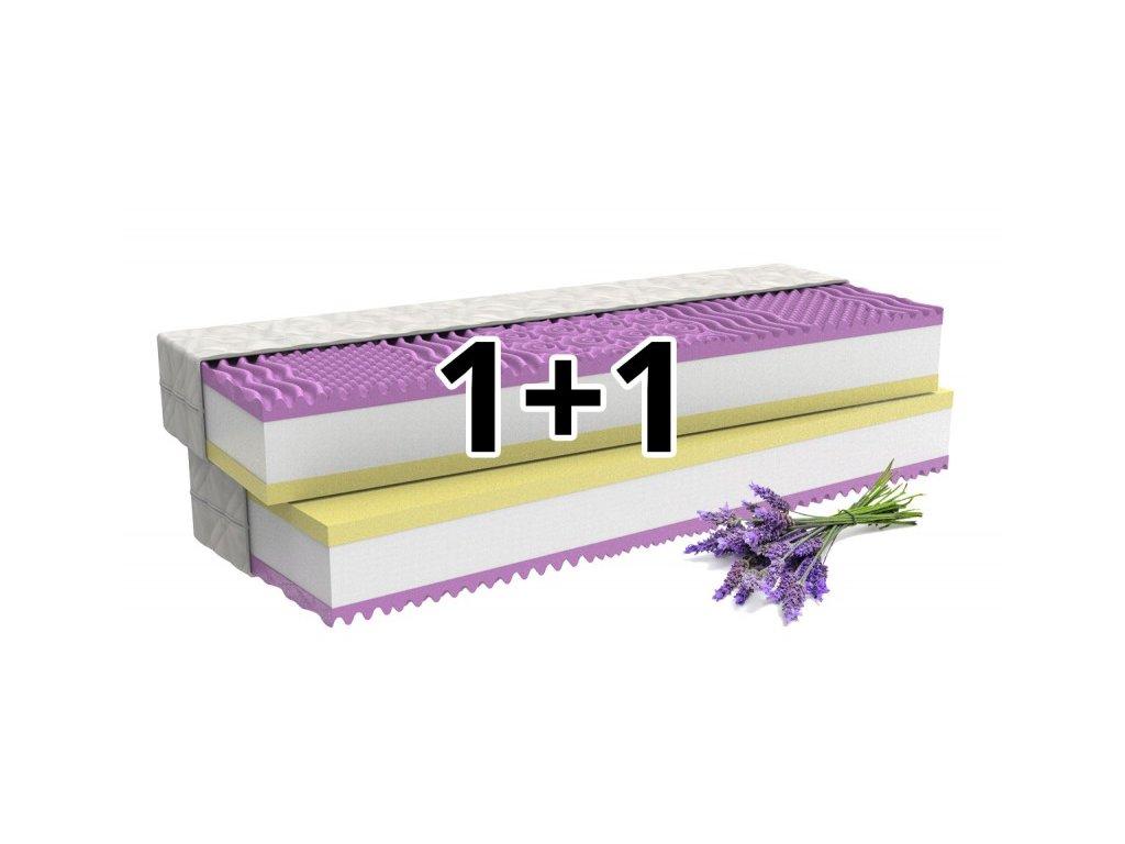 1+1 Ortopedická matrace LEVANDULE COMFORT s paměťovou pěnou a levandulí