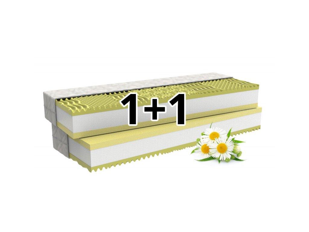 1+1 Ortopedická matrace CAMOMILLO COMFORT s paměťovou pěnou a heřmánkem