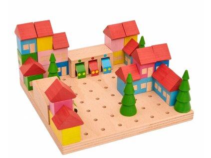 Dřevěná stavebnice MĚSTEČKO ze 45 dílů