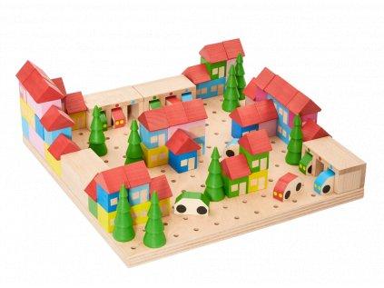 Dřevěná stavebnice MĚSTEČKO ze 89 dílů
