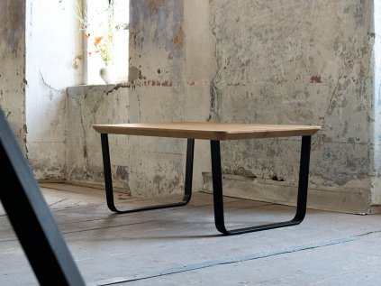 Industriální konferenční stolek ve tvaru obdélníku FUNKY se zaoblenou podnoží