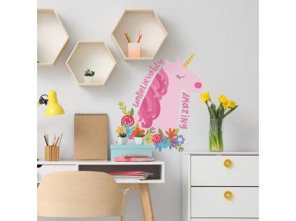 Samolepka na zeď JEDNOROŽEC s květy