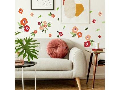 Samolepky na stěnu KVĚTINY barevné