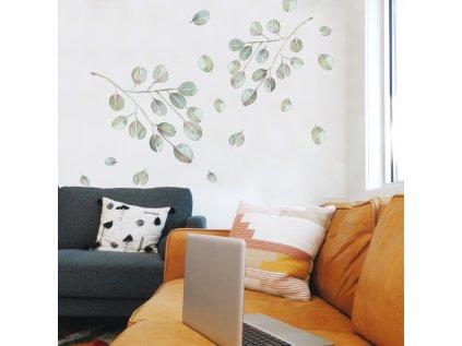 Samolepky na stěnu do bytu LÍSTKY akvarelové