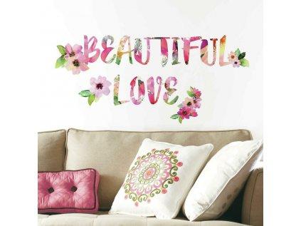 Samolepící nápis na stěnu BEAUTIFUL LOVE
