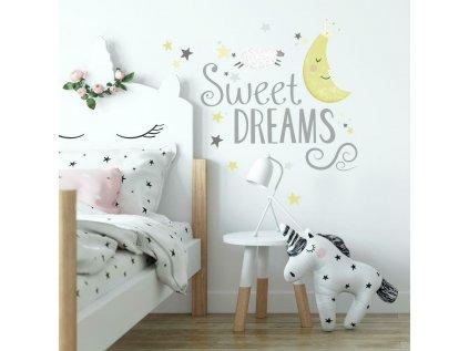 Samolepící nápis do dětského pokoje SWEET DREAMS s měsícem