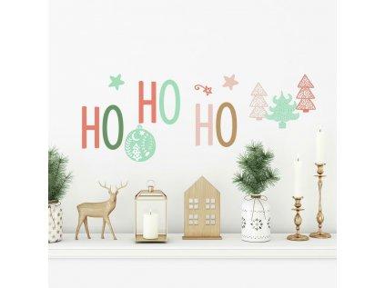 Vánoční samolepící nápis na stěnu HO HO