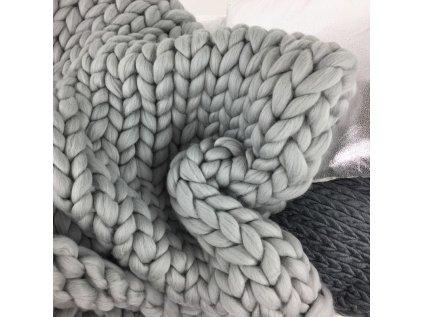 Chunky blanket - Gigantická ručně pletená deka z evropské Merino vlny