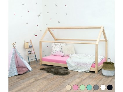 Dětská postel domeček Tery bez bočnice 140x200 cm přírodní