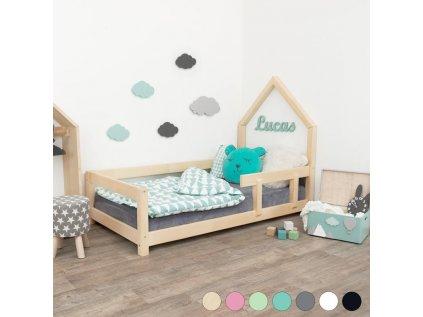 Dětská postel domeček Poppi 120x200 cm s bočnicí - všechny barvy