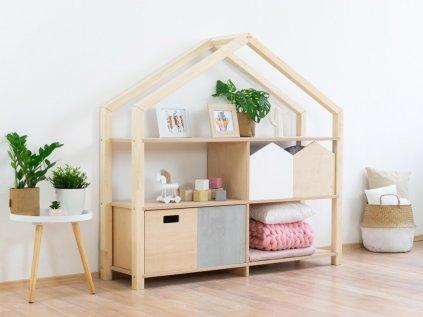 Dřevěný domečkový regál Shelly Přírodní