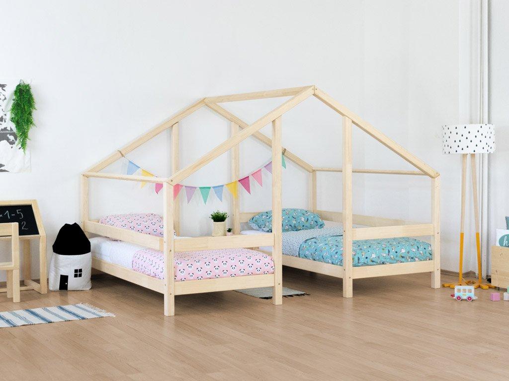 Pat de casă din lemn pentru doi copii VILLY