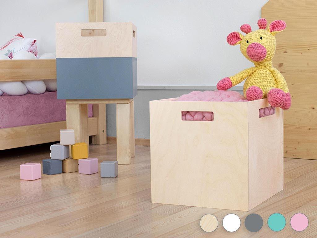 Cutie de depozitare de lemn BOKS pentru raft cu suport dreptunghiular