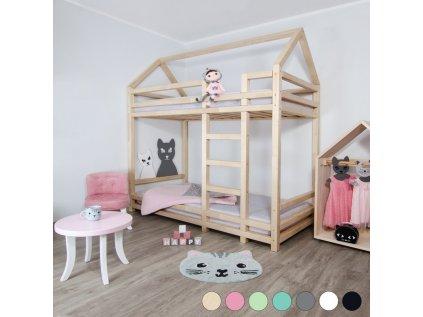 Pat pentru copii supraetajat din lemn TWINY