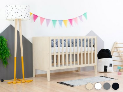 Pătuț pentru copii SLEEPY cu înălțimea somierei ajustabile și tăbliile pline