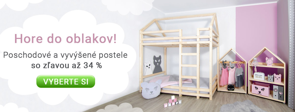 Poschodové a vyvýšené postele so zľavou až 34 %