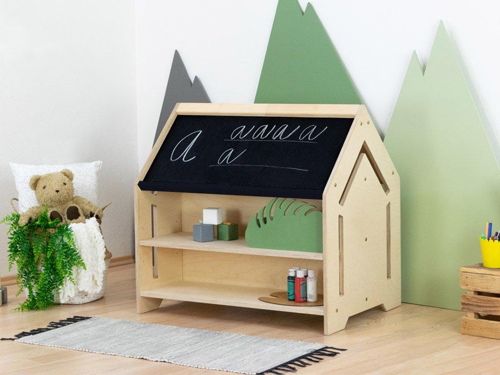 Detský domčekový stolík na kreslenie Creative tabuľová farba