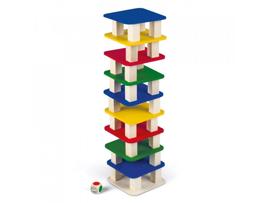 Stolný stavebnica VEŽA s kockou pre viacerých hráčov