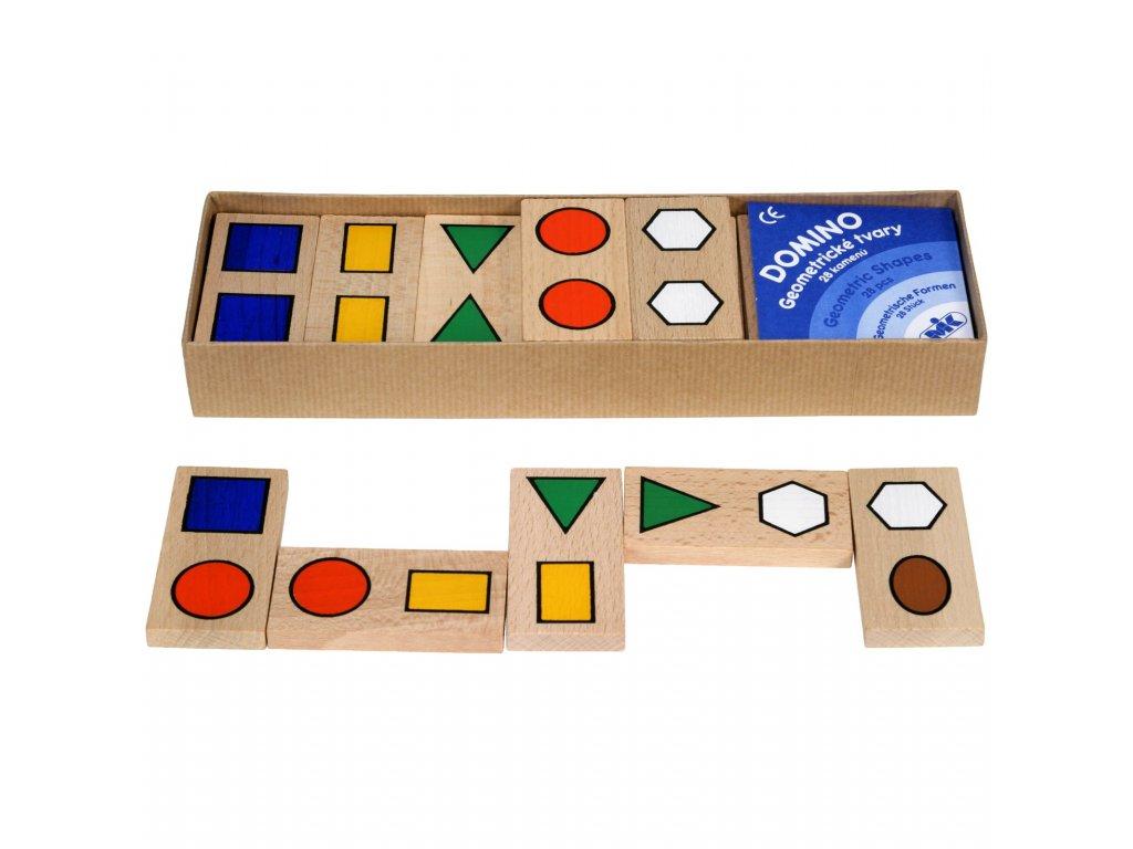 Geometrické drevené DOMINO pre rozoznanie tvarov
