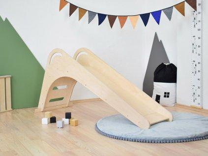 Detská drevená šmýkačka FICHEE do interiéru Prírodná