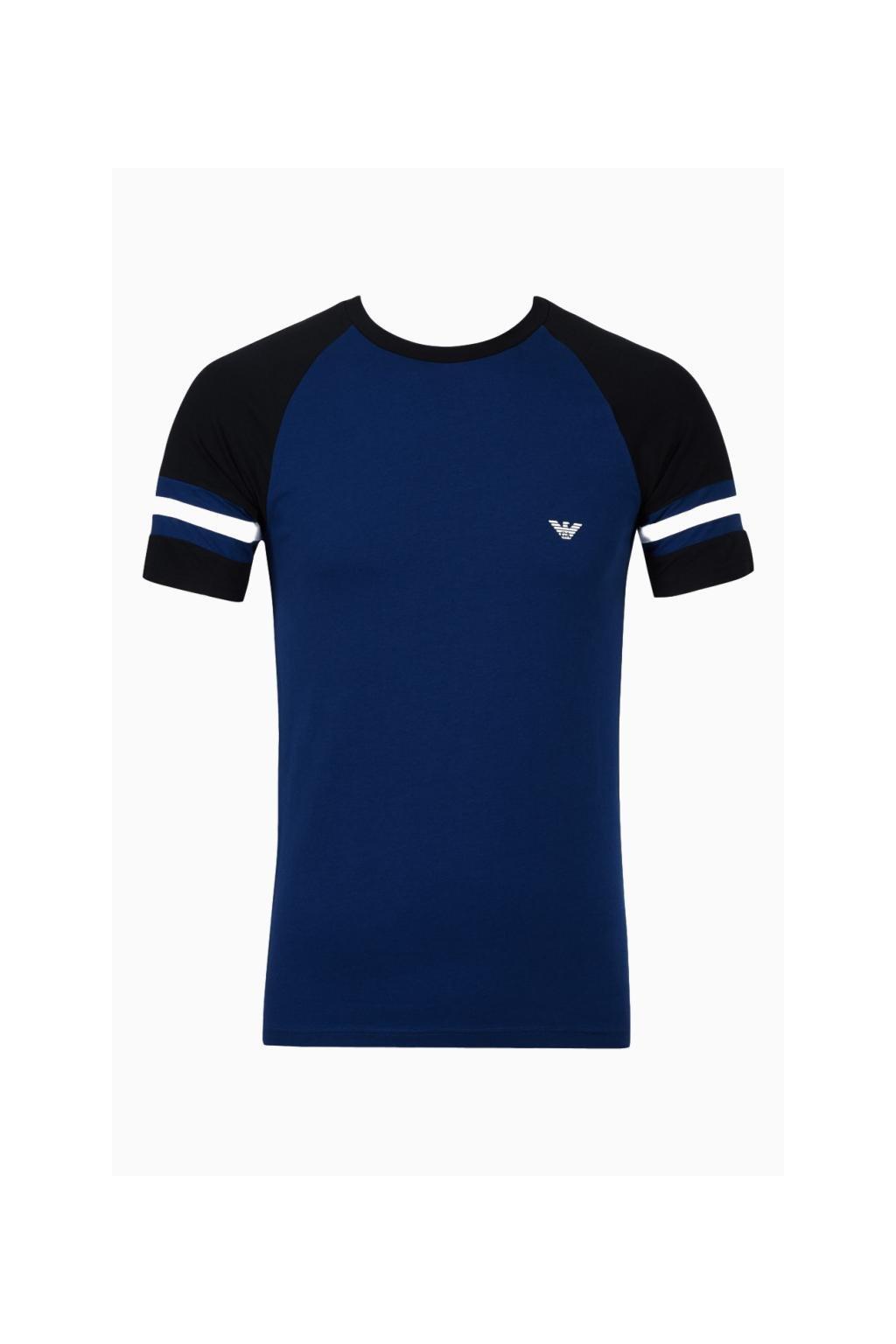 Emporio Armani tričko color block - modré