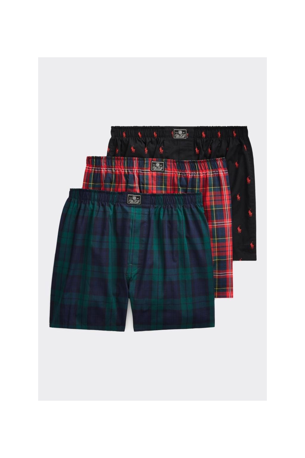 Polo Ralph Lauren trenýrky 3- balení - červená, zelená, černá