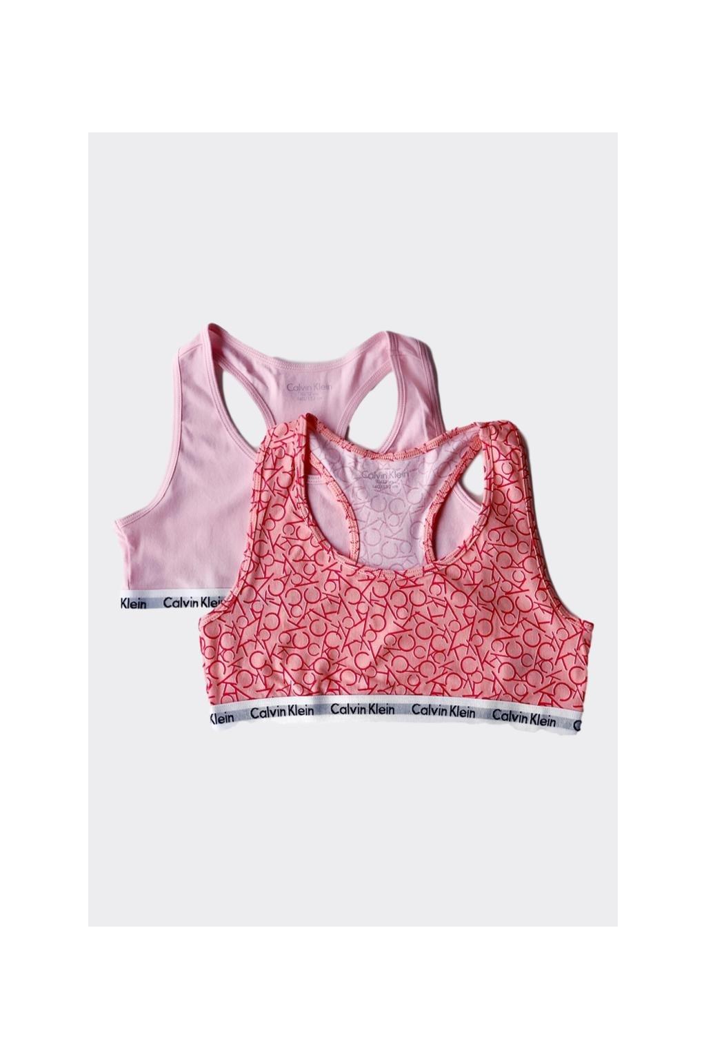 PRO DĚTI! Calvin Klein 2 balení Girls Braletky - logo, světle růžová