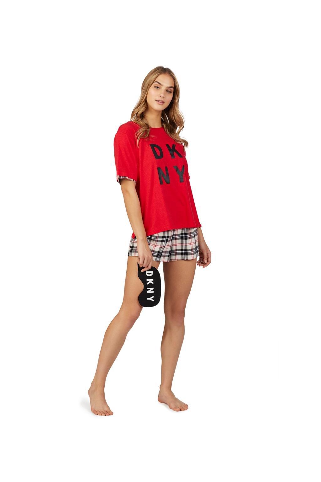 DKNY set tričko, kraťásky a škraboška - červená