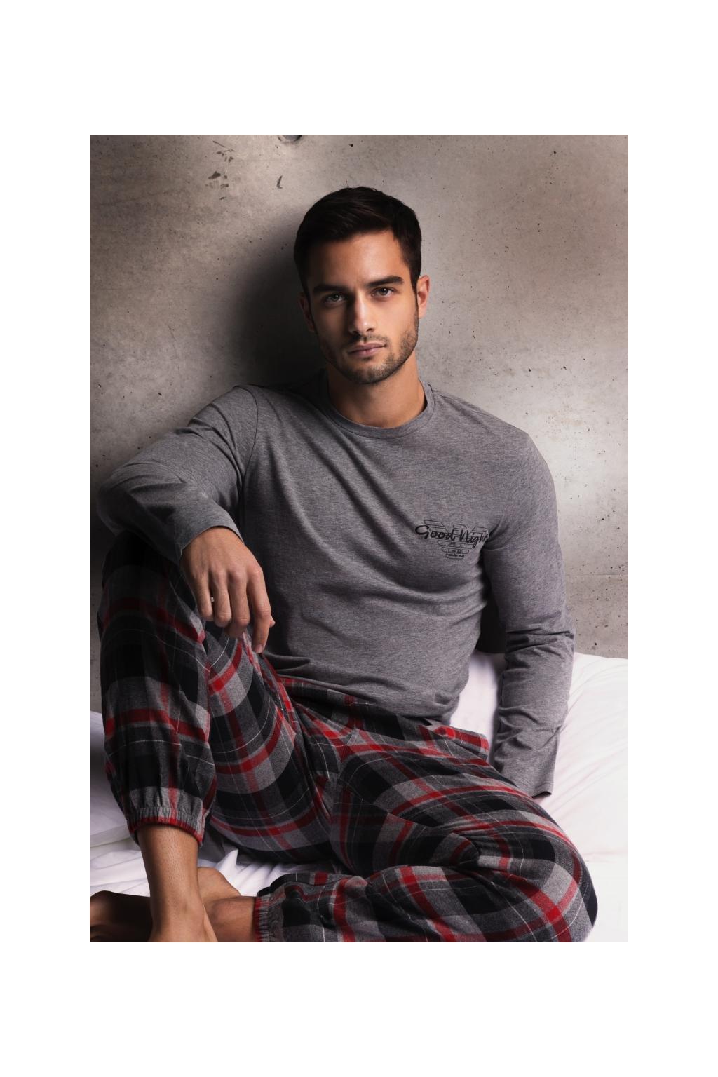 Emporio Armani Christmas flannel dárkové balení pyžamo - šedá