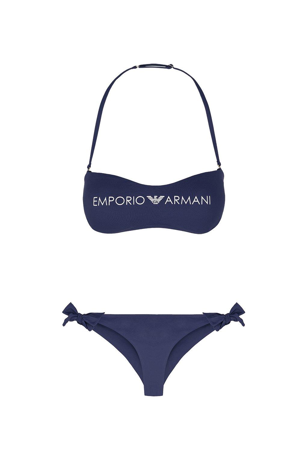 Emporio Armani Lehce vyztužený vrchní díl plavek + brazilky - tmavě modrá