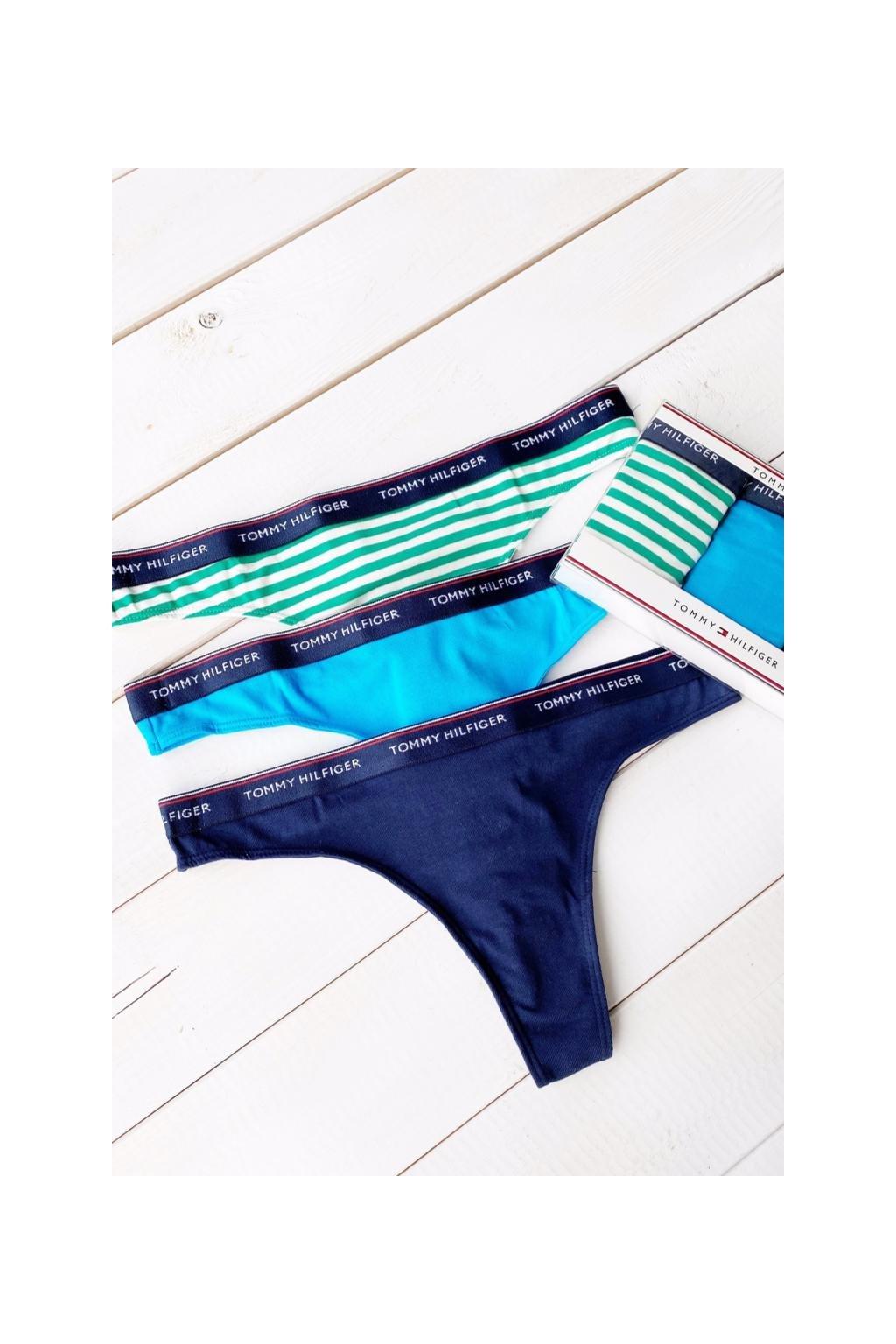 Tommy Hilfiger 3-balení tanga - modrá, zelená, tmavě modrá