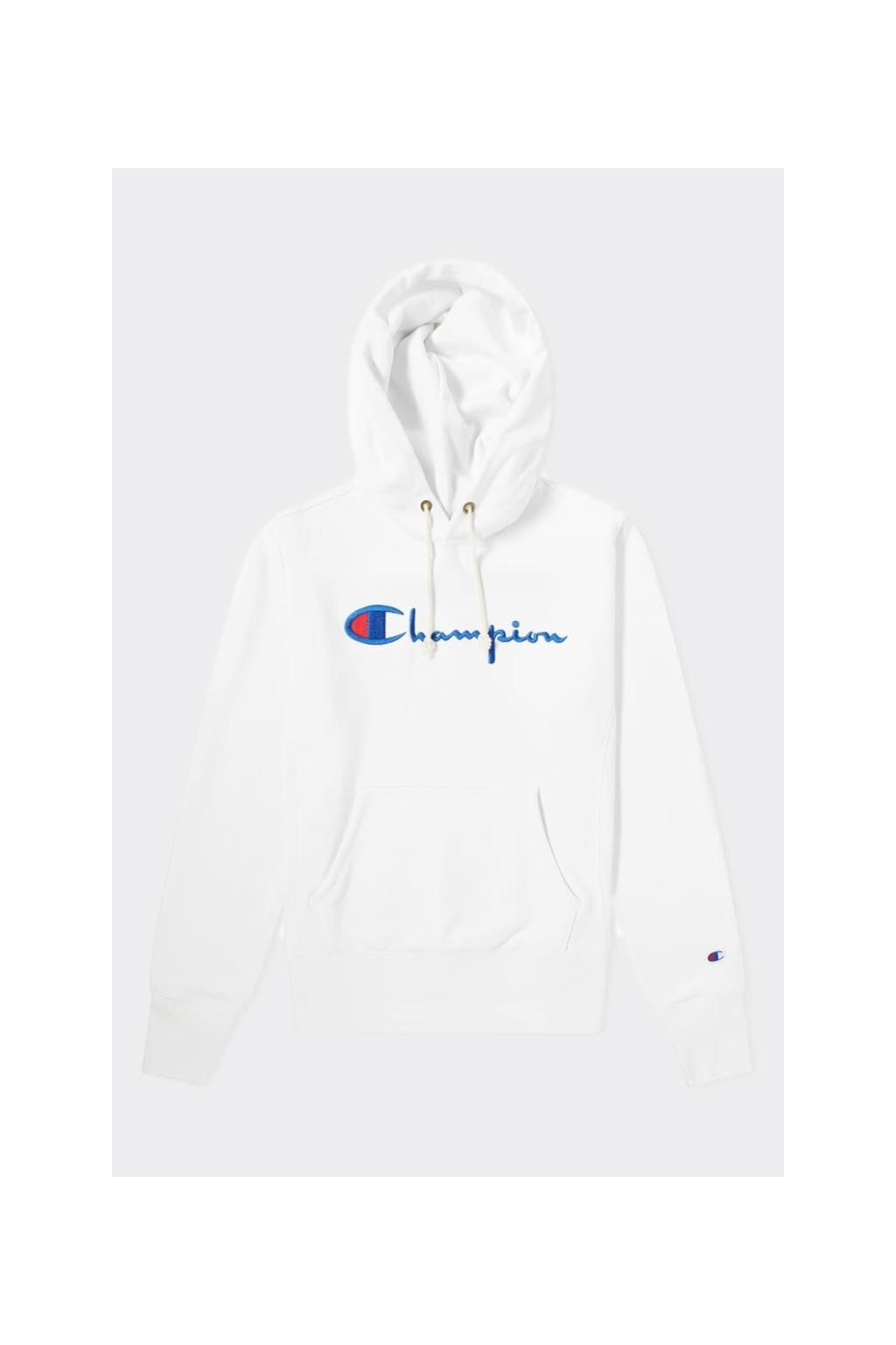 Champion Premium reverse weave dámská mikina s kapucí velké logo - bílá