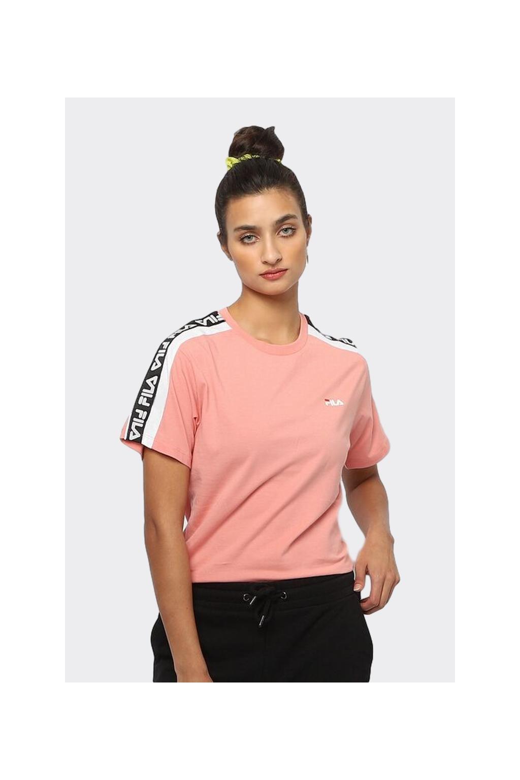 FILA tričko dámské s logo lemem - růžová