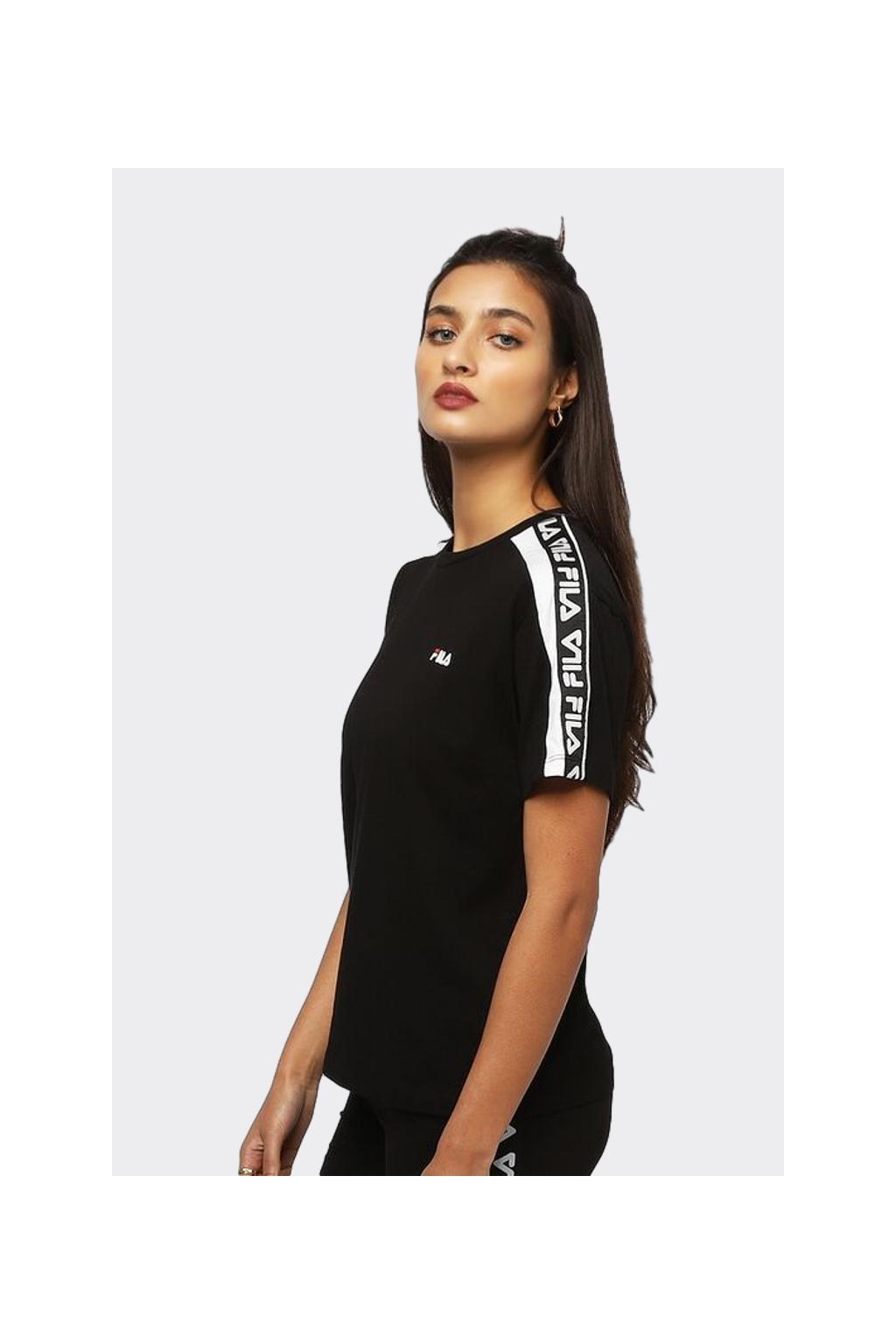 FILA tričko dámské s logo lemem - černá