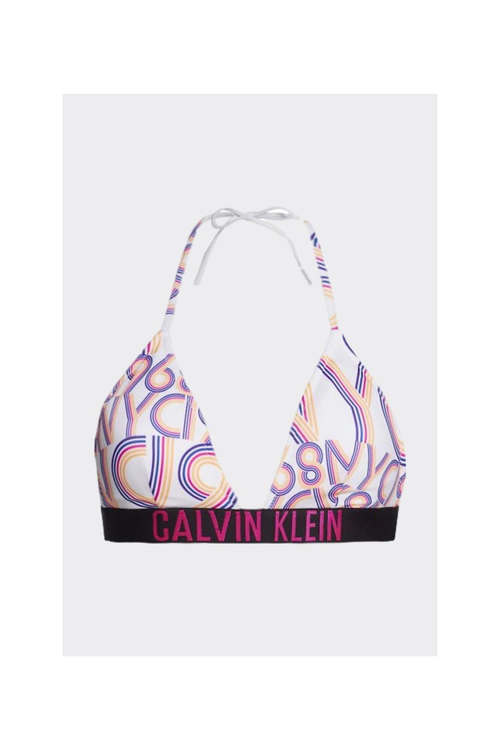 Calvin Klein Intense Power Triangle vrchní díl plavek - bílá s potiskem